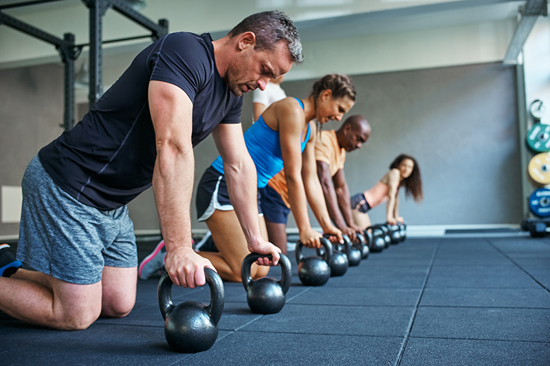 A group of people doing workouts